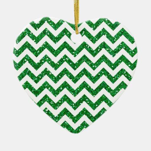 Green Glitter Chevron Pattern Christmas Tree Ornament