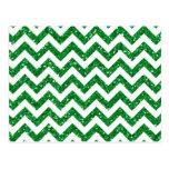 Green Glitter Chevron Pattern Post Card
