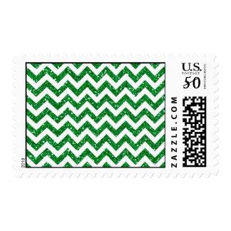 Green Glitter Chevron Pattern Postage