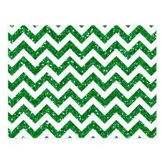 Green Glitter Chevron Pattern Postcard