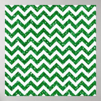 Green Glitter Chevron Pattern Poster