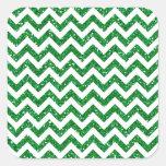 Green Glitter Chevron Pattern Square Stickers