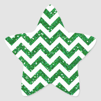 Green Glitter Chevron Pattern Star Sticker