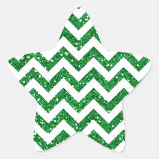 Green Glitter Chevron Pattern Star Sticker