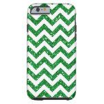 Green Glitter Chevron Pattern Tough iPhone 6 Case