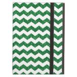 Green glitter chevrons iPad cover