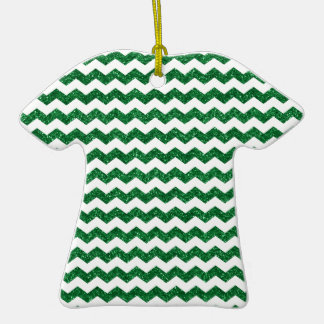 Green glitter chevrons Double-Sided T-Shirt ceramic christmas ornament