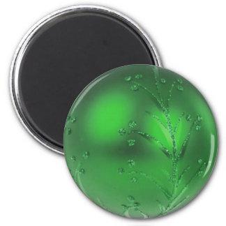 Green glitter Christmas bauble magnet