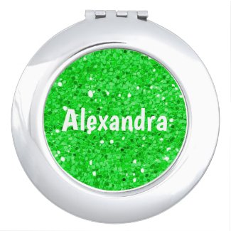 Green Glitter Compact Mirror