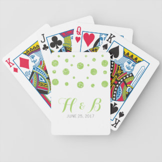 Green Glitter Confetti Playing Cards
