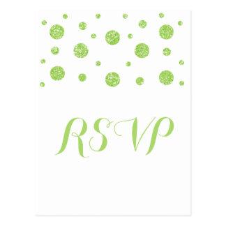 Green Glitter Confetti Response Postcard