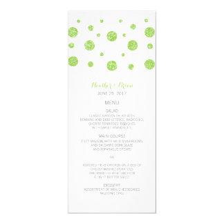Green Glitter Confetti Wedding Menu Card