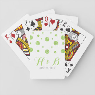 Green Glitter Confetti Wedding Playing Cards