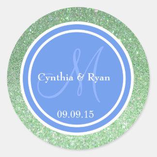 Green Glitter & Cornflower Blue Wedding Monogram Classic Round Sticker