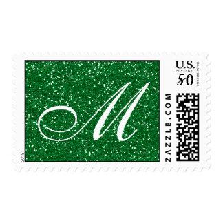 Green Glitter  Custom Monogram Postage