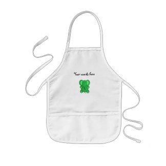 Green glitter elephant kids' apron