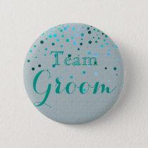 Green Glitter Faux Confetti Wedding Team Groom Pinback Button