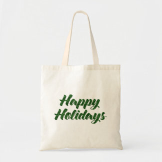 Green Glitter Happy Holidays Gift Bag