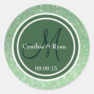 Green Glitter & Hunter Green Wedding Monogram Classic Round Sticker