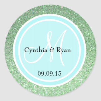 Green Glitter & Light Blue Wedding Monogram Label Classic Round Sticker