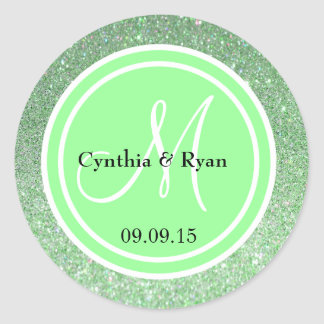 Green Glitter & Light Lime Green Wedding Monogram Classic Round Sticker