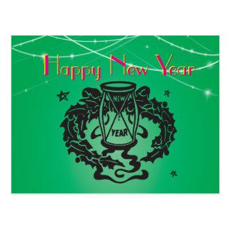 Green Glitter Lights Hourglass Retro Clipart Postcard