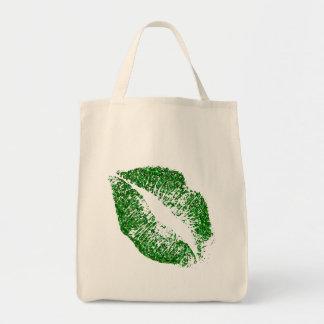 Green Glitter Lips #2 Tote Bag
