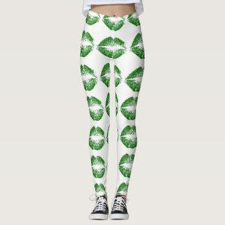 Green Glitter Lips Leggings