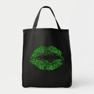 Green Glitter Lips Tote Bag