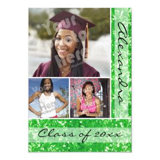 Green Glitter-Look 3 Photo Graduation 5x7 Paper Invitation Card