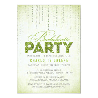 Green Glitter Look Bachelorette Party Invitation