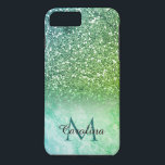 "Green Glitter, Marble, Personalized iPhone 8 Plus/7 Plus Case<br><div class=""desc"">This girly green marble and green glitter mobile phone case can be personalized with your name and monogram.</div>"