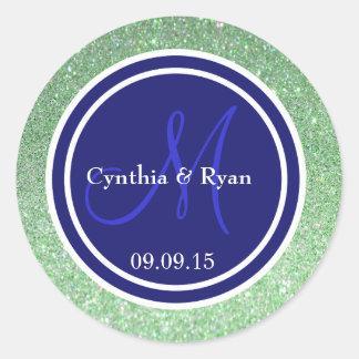 Green Glitter & Midnight Blue Wedding Monogram Classic Round Sticker