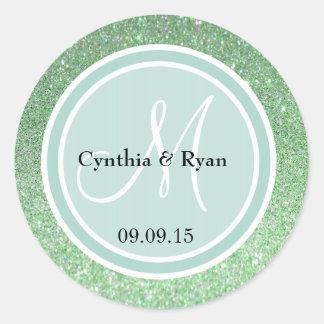 Green Glitter & Mint Green Wedding Monogram Classic Round Sticker