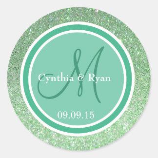 Green Glitter & Mint Wedding Monogram Classic Round Sticker
