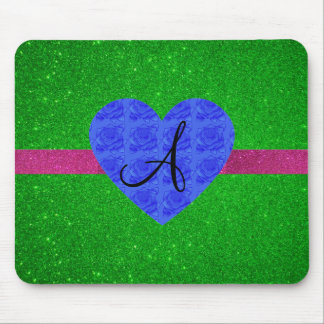 Green glitter monogram blue roses mouse pad