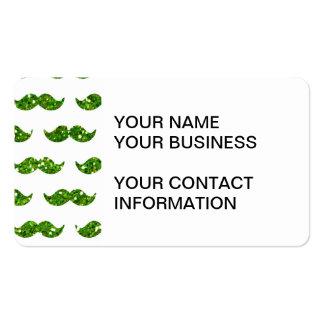 Green Glitter Mustache Pattern Printed Business Card