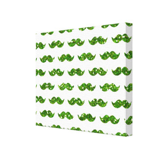 Green Glitter Mustache Pattern Printed Gallery Wrap Canvas