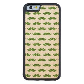 Green Glitter Mustache Pattern Printed Carved Maple iPhone 6 Bumper Case