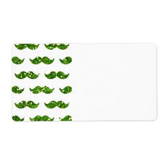 Green Glitter Mustache Pattern Printed Label