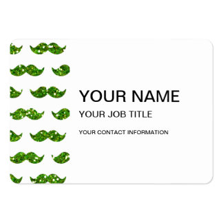 Green Glitter Mustache Pattern Printed Large Business Card