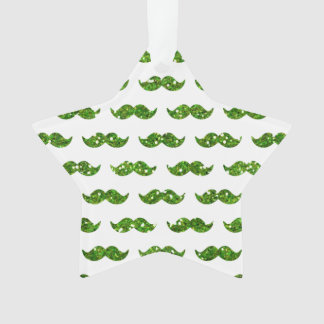 Green Glitter Mustache Pattern Printed Ornament
