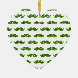 Green Glitter Mustache Pattern Printed Double-Sided Heart Ceramic Christmas Ornament