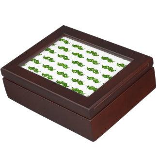 Green Glitter Mustache Pattern Printed Keepsake Box