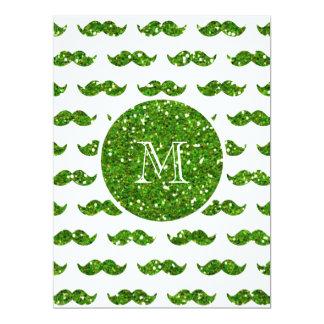 Green Glitter Mustache Pattern Your Monogram 6.5x8.75 Paper Invitation Card