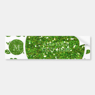 Green Glitter Mustache Pattern Your Monogram Bumper Sticker