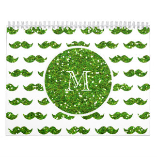 Green Glitter Mustache Pattern Your Monogram Wall Calendar