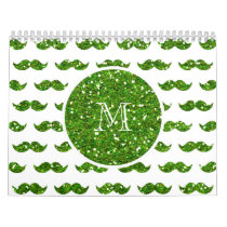 Green Glitter Mustache Pattern Your Monogram Calendar