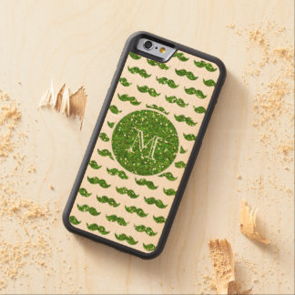 Green Glitter Mustache Pattern Your Monogram Carved Maple iPhone 6 Bumper Case