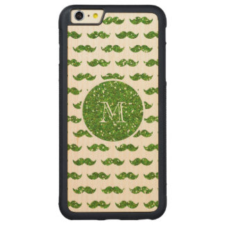 Green Glitter Mustache Pattern Your Monogram Carved Maple iPhone 6 Plus Bumper Case